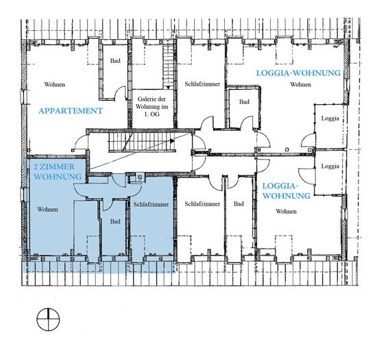 Grundriss 2 Zimmerwohnung 1 2. OG